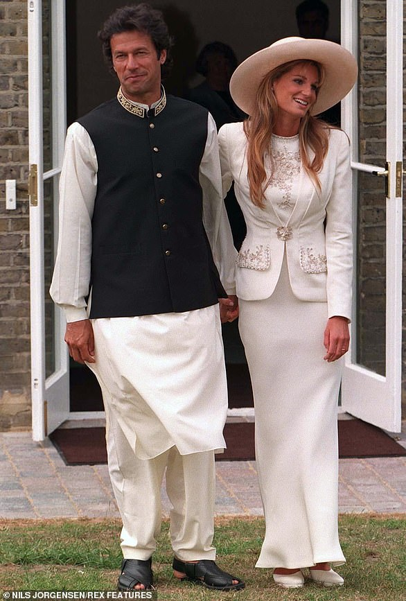 Khan's wedding to Jemima Goldsmith in Richmond, London, in 1995
