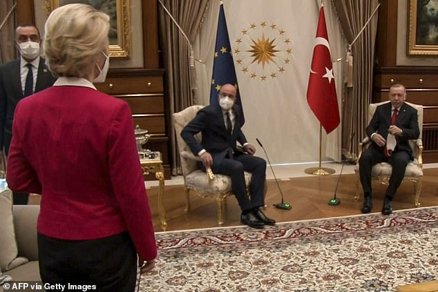 Ursula von der Leyen was left irritated after being sidelined during talks between the EU and Turkey in Ankara on Tuesday after her two male counterparts took the only available seats