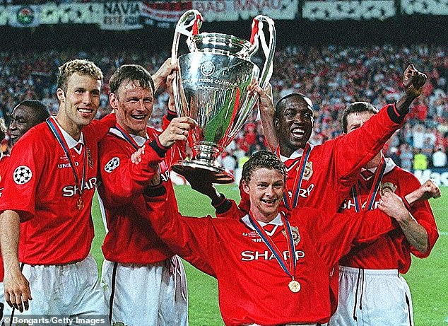 Solskjaer recalled the competition for places he experienced as a player, having battled with the likes of Teddy Sheringham (centre left), Dwight Yorke (centre right) and Andy Cole