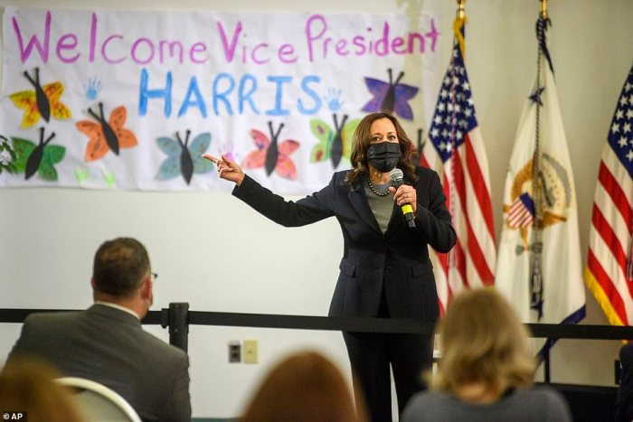 Harris speaks at the West Haven Child Development Center in Connecticut on March 26 during a visit to promote the administration's $1.9 trillion American Rescue Plan - two days after the White House put her in charge of the border