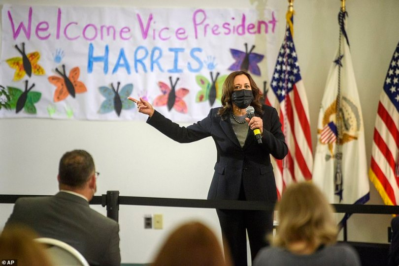 Since being appointed in charge of the border, she also visited West Haven Child Development Center in Connecticut on to promote the administration's $1.9 trillion American Rescue Plan