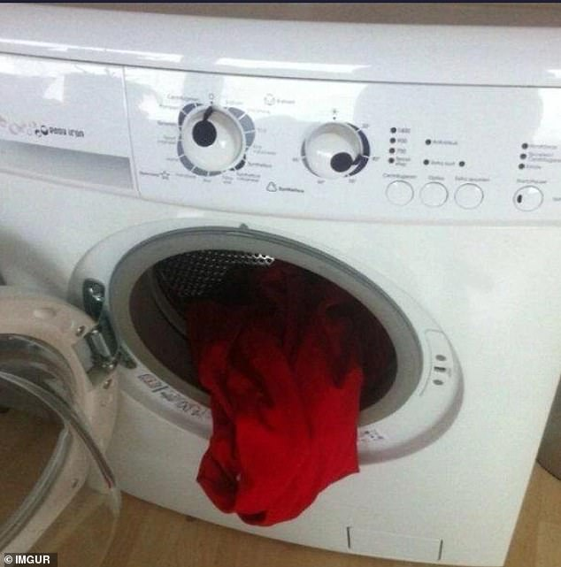 One too many spins! This internet user, from an unknown location, shared a picture of his nauseous looking washing machine