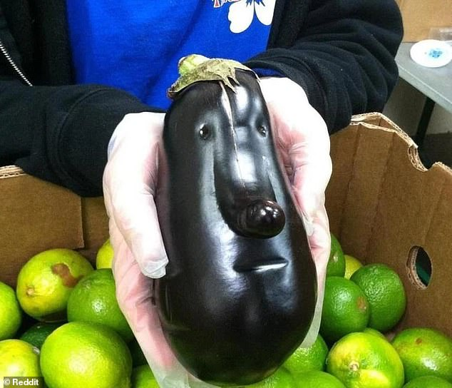 Why so glum? This user, from an unknown location, shared a very sad looking aubergine spotted on a food shopping trip