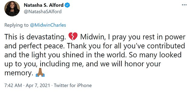 'This is devastating,' said CNN political analyst and TheGrio's Natasha Alford. 'Midwin, I pray you rest in power and perfect peace. Thank you for all you've contributed and the light you shined in the world. So many looked up to you, including me, and we will honor your memory'