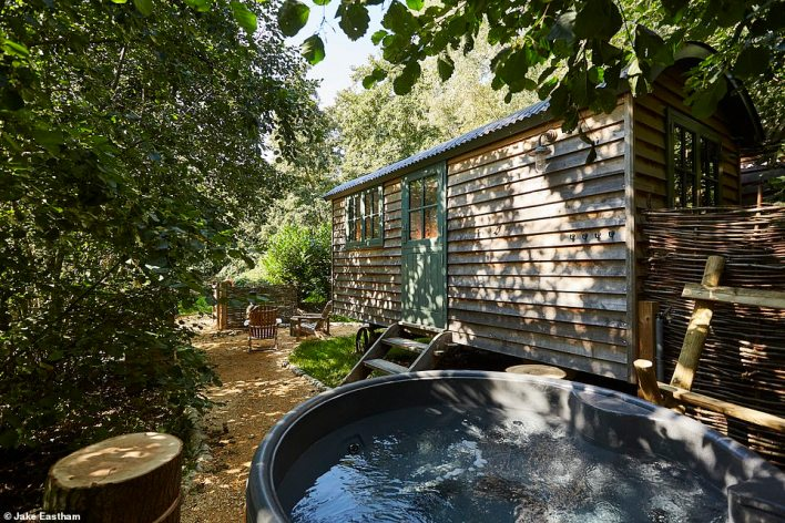 The romantic Boaty McBoatface cabin at The Fish Hotel near Broadway in the Cotswolds, which boasts an outdoor hot tub