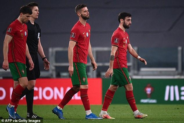 Granada defender Domingos Duarte (centre) will face Portugal team-mate Bruno Fernandes (right)