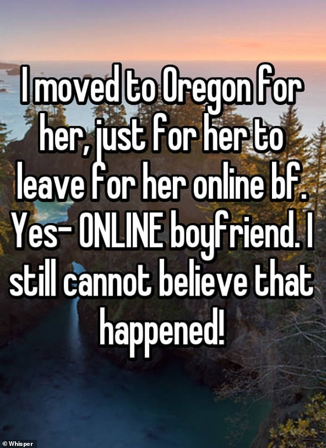 A man revealed he moved to Oregon, but regretted it when his partner cheated on him with another man online