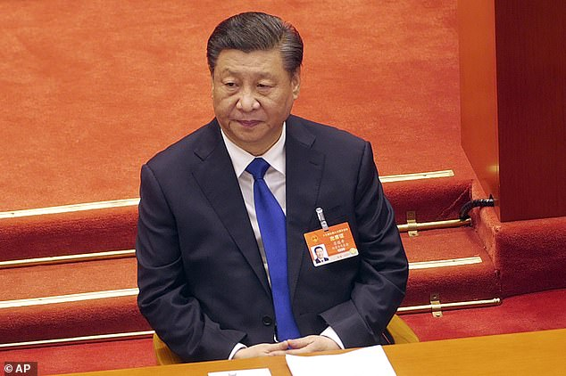 'China and the rest of the world is racing ahead of us and the investments they have in the future,' President Joe Biden argued Wednesday in remarks given to sell his infrastructure package. (Pictured) Chinese President Xi Jinping