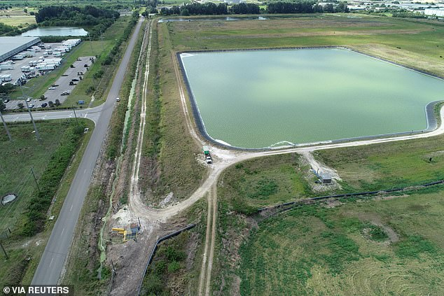 The reservoir of the defunct phosphate plant south of Tampa, where a leak at a waste water reservoir forced the evacuation of hundreds of homes and threatened to flood the area and remains a threat