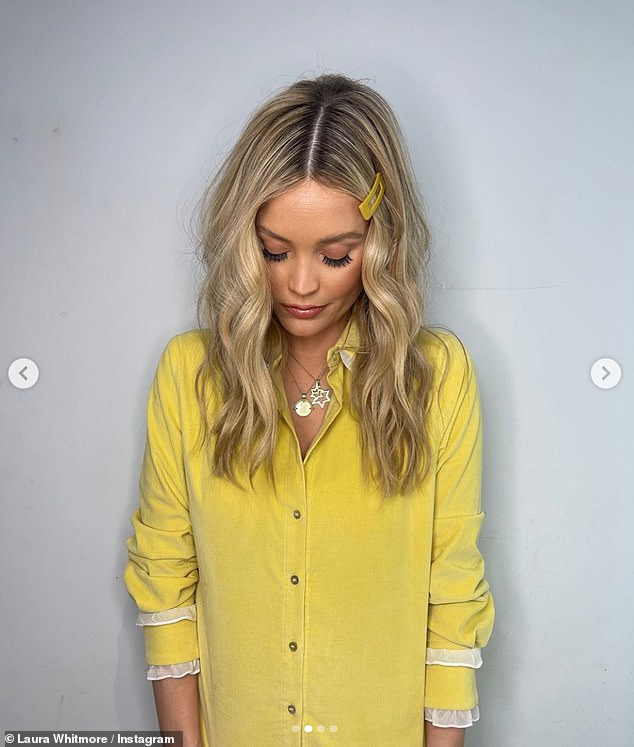 Sunshine: While Laura had her hair and make-up done by the Celeb Juice glam squad, her little one was tucked underneath a muslin and appeared to be feeding