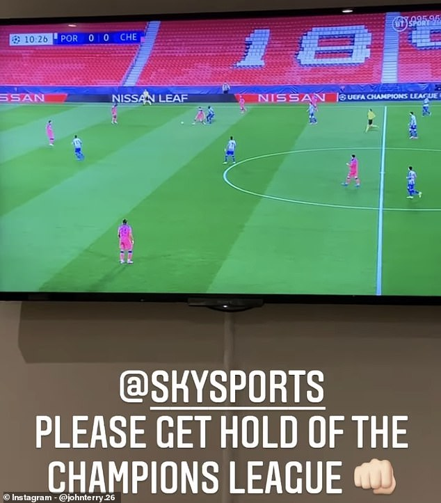The former defender posted his wish on Instagram while watching Chelsea playing Porto