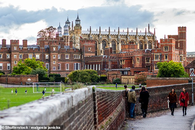Eton said in a statement that it 'always takes specific allegations extremely seriously, does all it can to support those directly affected, takes disciplinary action where appropriate and works with the relevant authorities'. Pictured: Eton College