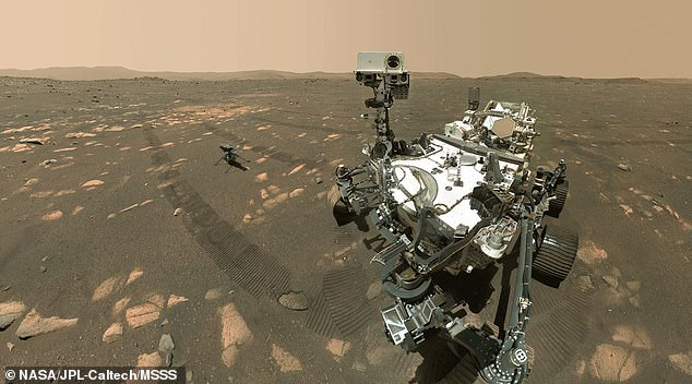 As the Ingenuity helicopter prepares to make history by flying through Mars¿ atmosphere, the Perseverance rover snapped a selfie of the pair to commemorate one of their last moments together
