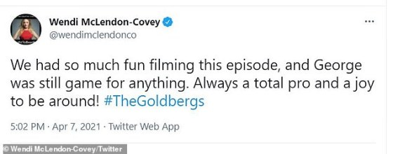 Entertainment: McLendon-Covey added in another tweet: 'We had so much fun filming this episode and George was still a game for anything.  Always a complete professional and a pleasure to be around!  #TheGoldbergs'