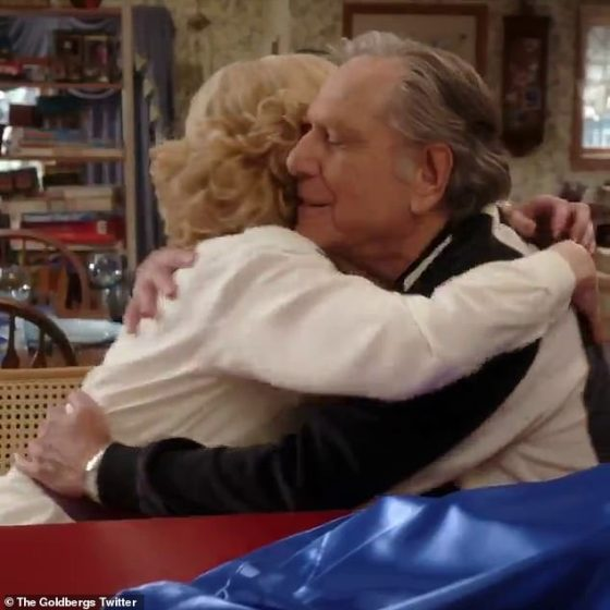Hugs: The video continues to feature other memorable Pops footage, ending with him embracing all members of the Goldbergs family