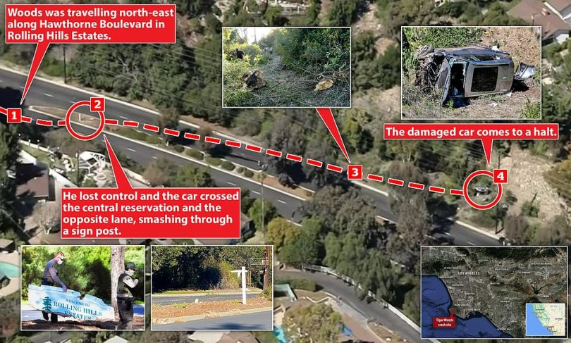 Police say Woods was travelling at a high speed when he hit a raised median, smashed through a wooden road sign, splintered a tree and then rolled his SUV off the wrong side of the road where it came to rest at the bottom of an embankment
