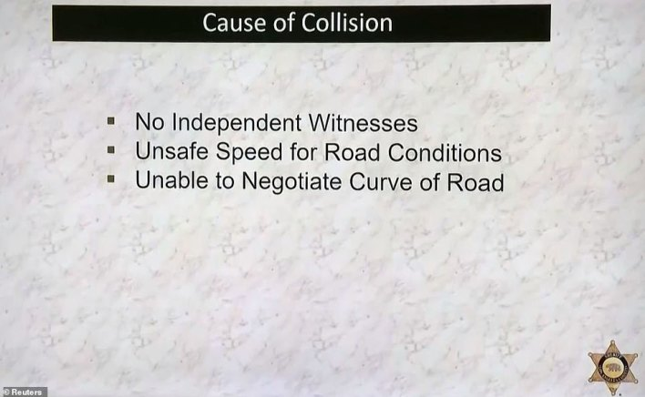 Sheriff's office showed this slide, listing factors related to Woods' crash, on Wednesday