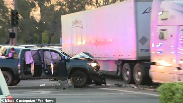 A California truck driver has helped end a two hour police pursuit after he used his large vehicle to block off the road that a murder suspect was fleeing down