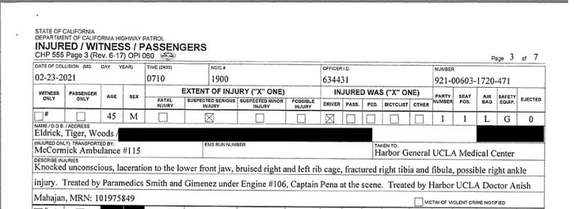 Extracts from the accident report show the extent of Tiger's injuries