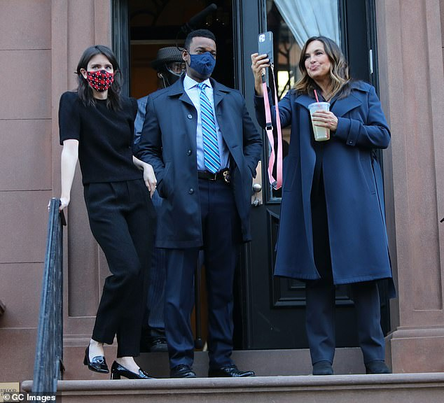 Tag teaming: The day after he was filming Law & Order: Organized Crime, his good friend and old costar Mariska Hargitay filmed Law & Order: Special Victims Unit in NYC