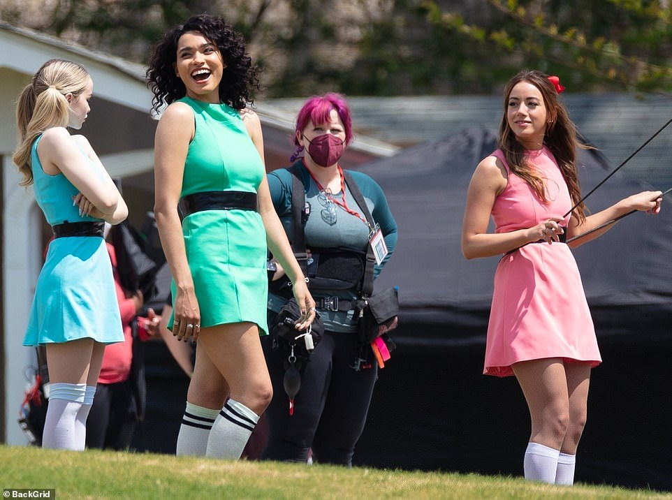 New look: Powerpuff Girls (LR) stars Dove Cameron, 25, Yana Perrault, 25, and Chloe Bennet, 28, were spotted filming a scene from their sequel live in Atlanta on Wednesday.
