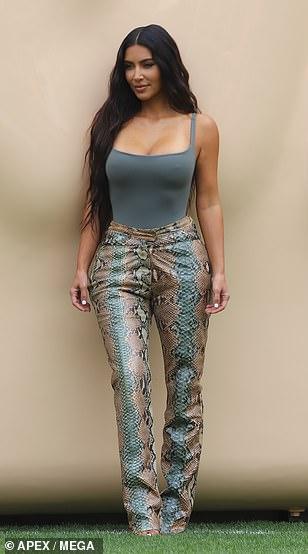 Sensational: Kim put her famous assets on display
