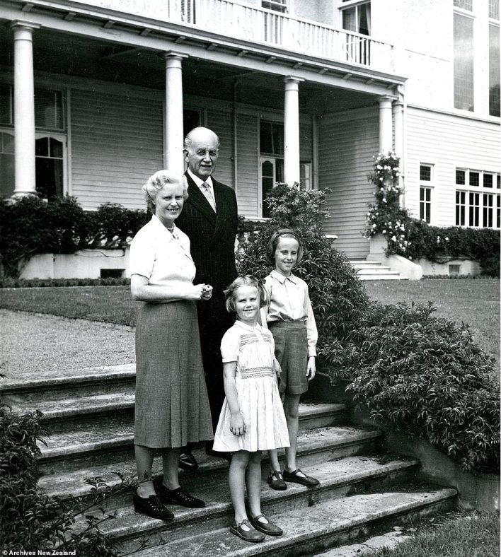 Governor-General of New Zealand, Sir Willoughby Norrie, pictured with his wifePatricia and their children