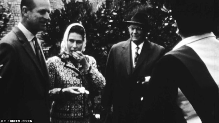 Rarely seen footage a young Queen eating an orange with President Tito during her visit to Belgrade in 1972.The Queen is rarely seen on camera eating - she very much disapproves of that - but happily tucked into the piece of fruit