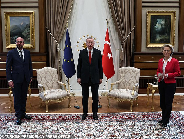 Von der Leyen was in Turkey alongside EU council president Charles Michel (left) and Turkish president Erdogan (centre) to discuss relations with the EU - including on women's rights
