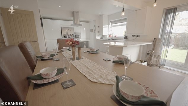 Karina and Lloydwanted a modern property with lots of space and ideally an open-plan dining room and garden (pictured, the fourth property which ticked all their boxes)