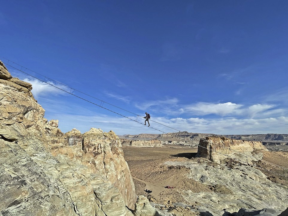 The Cave Peak Stairway hangs400ft (122m) above the ground amid breathtaking Utah scenery