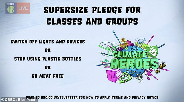 The three areas of focus for the climate change challenge include switching off lights and devices, stop using plastic bottles or going meat free
