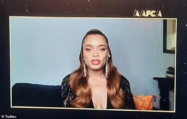 Cleavage alert!  Andra Day took the plunge by winning the trophy for Best Actress for the titular role in Hulu's biopic The United States against Billie Holiday
