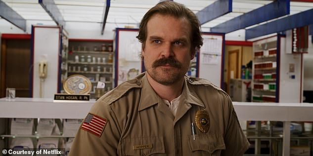 Exciting:The actor recently told People that season four of Stranger Things is his favourite so far as audiences will see 'an entirely other colour' to his character Hopper