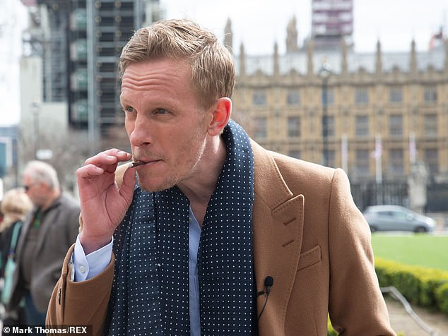Laurence Fox addressed the legal case at his manifesto launch yesterday (where he is pictured)