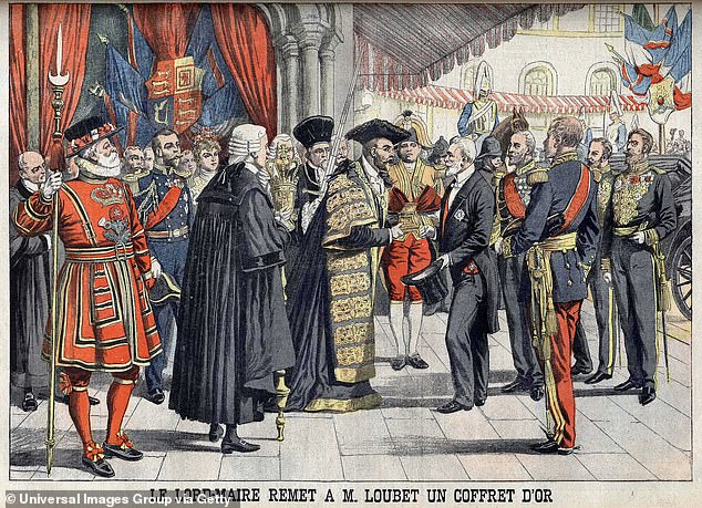 Sir Marcus Samuel, Lord Mayor of London, presenting President of the French Republic Emile Loubet (1838-1929) with a gold box, following a reception at the Guildhall, in London, Illustration from French newspaper Le Petit Journal, July 1903