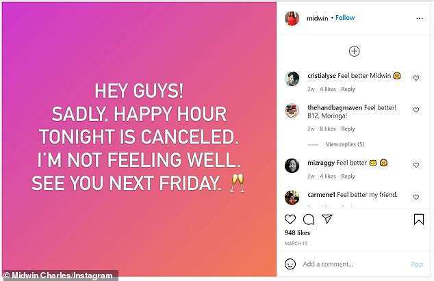 Midwin Charles had taken to Instagram on March 19 to share that she would not be having routinely scheduled Happy Hour, weeks before her unexpectant death