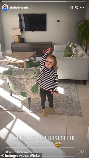 In a cute clip shared to Instagram last month, Indie proved she was following in her father's footsteps as she showed off her new set of 0.5kg dumbbells