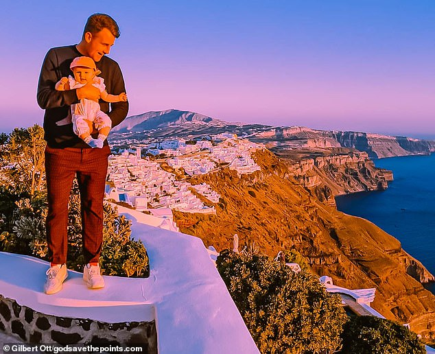 Gilbert with his baby daughter in Santorini - a trip that he said was a real highlight