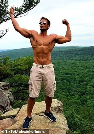 Pictured: Alexis's boyfriend now posing with his toned abs