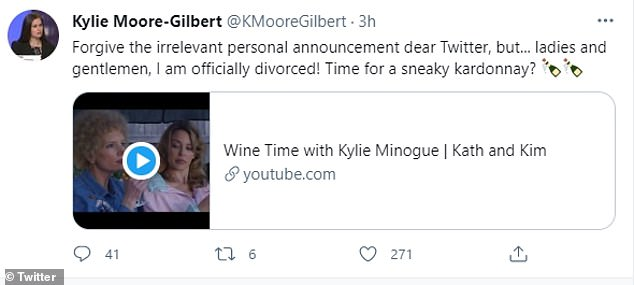 Dr Moore-Gilbert declared that it was wine-time after announcing her divorce was finalised