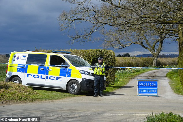 Sir Richard Lexington Sutton, 9th Baronet, was head of the Sutton family, which owns land in Dorset, Berkshire, London and Lincolnshire and Aberdeenshire. Pictured: Police had taped of the entrance to the property earlier today