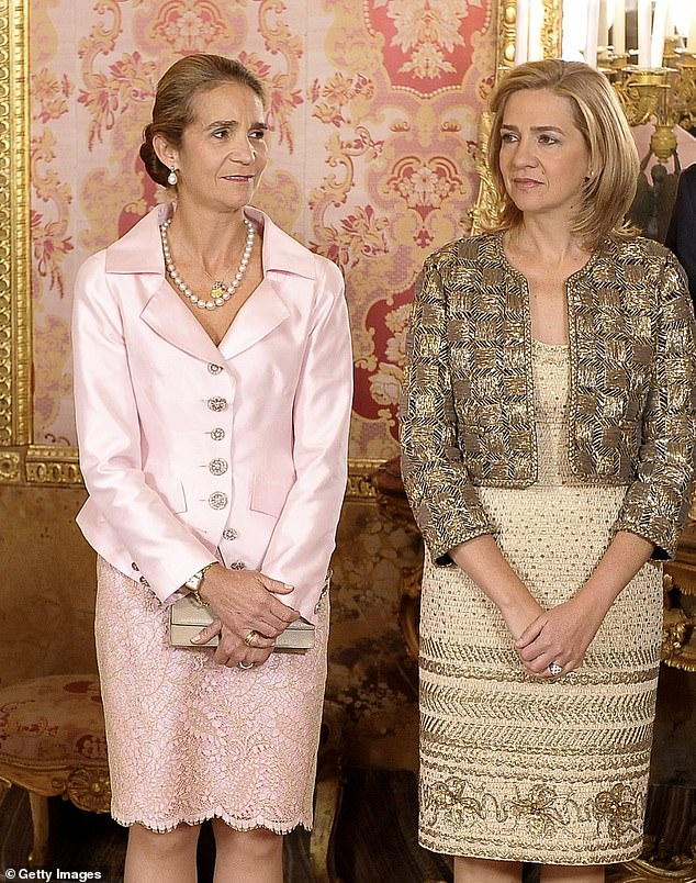It comes weeks after Yolanda, 49, criticised Princess Elena, 57, (left) and Princess Cristina, 55, (right) for getting the Covid-19 jab while visiting their father Juan Carlos in Ahu Dhabi