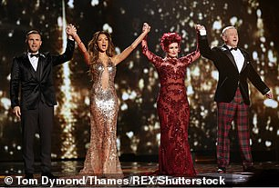 With X Factor co-presenters Gary Barlow, Nicole Scherzinger and Louis Walsh, 2013