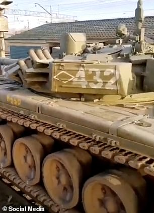 A tank is transported to the border