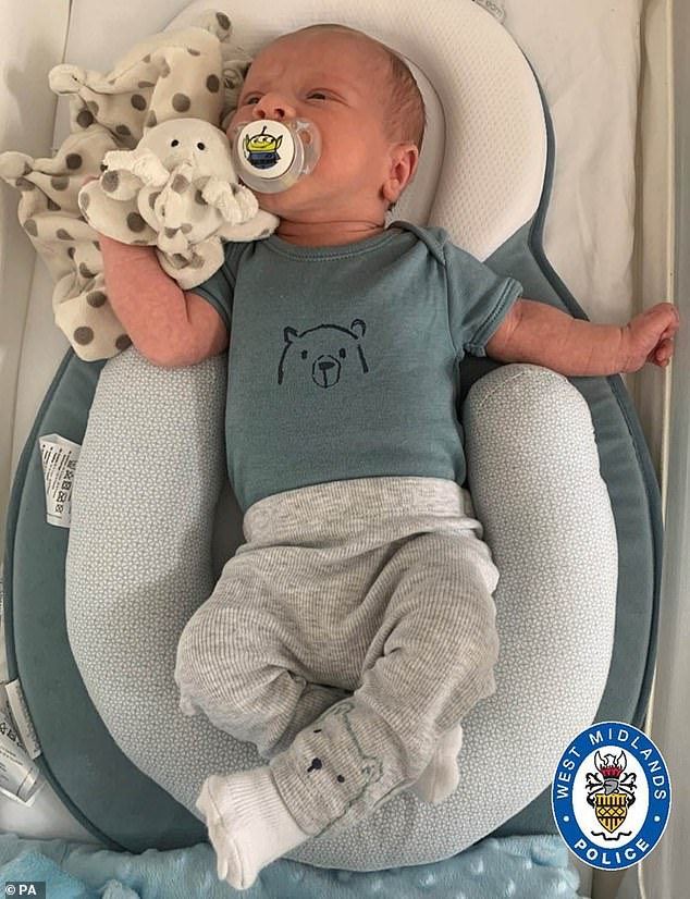 Two-week-oldCiaran Leigh Morris (above) who was killed after his pram was struck by a car died as a result of 'major trauma', an inquest heard today
