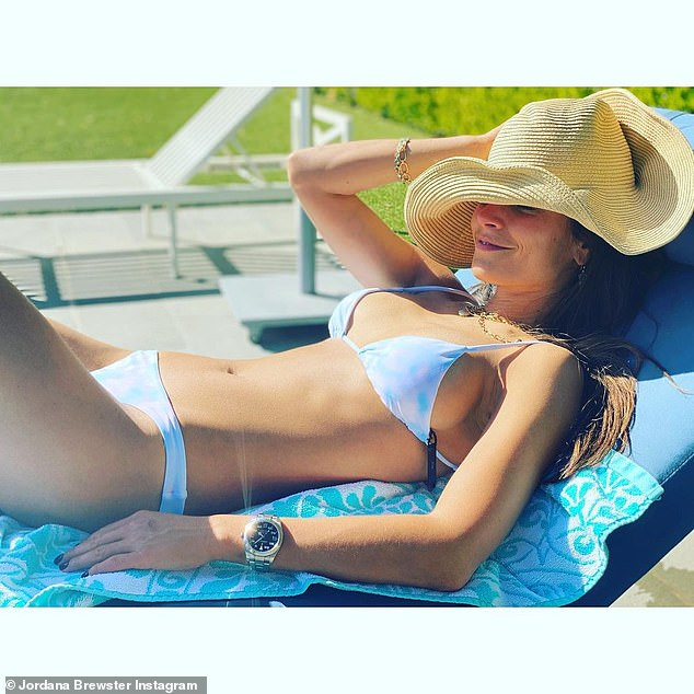 Catch some rays: Jordana Brewster posted a photo to Instagram on Wednesday where she looked hot in a new thong bikini while sunbathing in a blue lounge chair