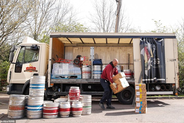 The White Horse receives a delivery of beers and food ahead of reopening on April 12