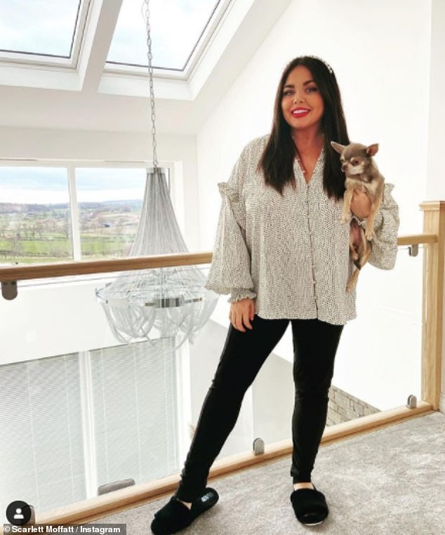 Show and tell:Scarlett Moffatt gave her fans a tour of her completed home on Thursday, with the stunning property boasting a sleek kitchen, cosy furnishings and a cinema room