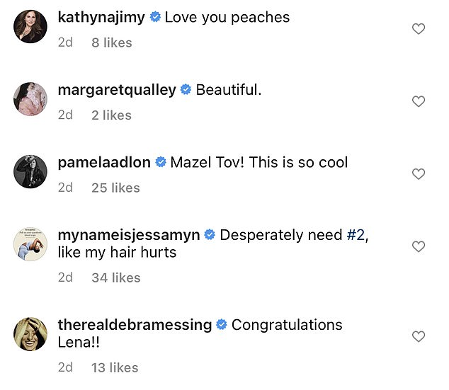 Star power: Instagram comments rolled in from Rita Wilson, Margaret Qualley, Debra Messing, Harley Quinn Smith, Selma Blair, Kathy Najimy, and Zooey Deschanel